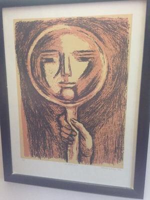 Litografía de Alfredo zalce denominada el espejo