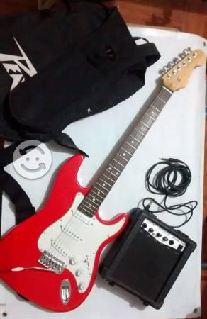 Guitarra electrica con amplificador y accesorios