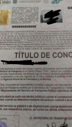VENTA DE PLACAS PARA TAXI CDMX