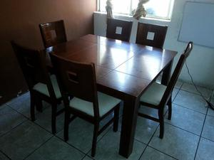 Comedor de madera de teka 6 personas cojines posot class for Comedor 6 personas