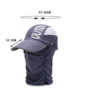 Gorra con protección para cara y cuello. Pesca, correr,