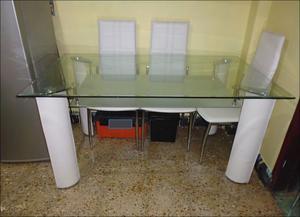 Mesa comedor minimalista cubierta cristal templado posot - Cubierta de cristal ...