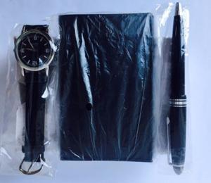 Reloj De Pulsera Cuarzo Set Cartera Plumón Caballero