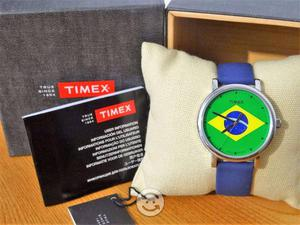Reloj timex nuevo,bandera brasil,luz,cristal mine