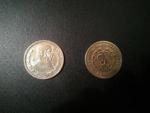 Monedas de 1 peso  y  plata.100