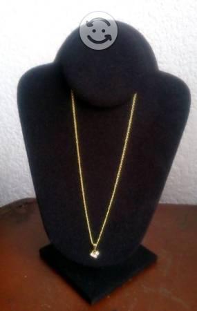Cadena c/Pendiente 3 Zirconias Chapa Oro 18 K Nva