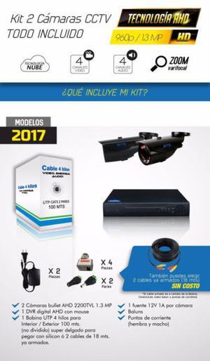 Kit Cctv Vídeo Vigilancia 2 Cámaras Zoom Varifocal de 1.3