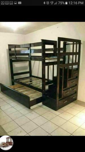 Camas desarmables de madera posot class - Literas con tres camas ...