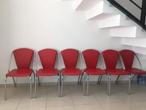 Juego de 6 sillas de acero cromado