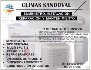 REPARACION,MANTENIMIENTO,INSTALACION CLIMAS SANDOVAL