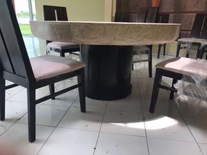 Mesa de marmol con 8 sillas muy buena calidad posot class for Vendo sillas comedor