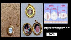 relicario chapa de oro personalizado con fotos