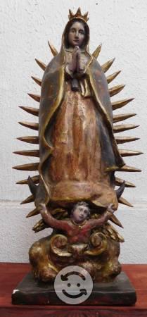 Antigua Escultura De Virgen De Guadalupe