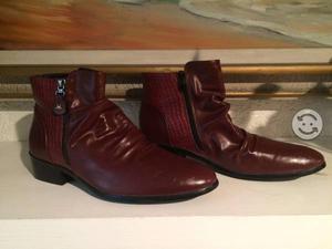 Botas de cuero importadas rojo bermellón
