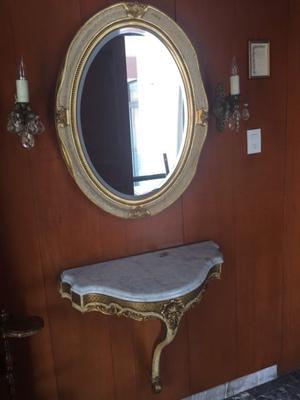 Juego de espejo y mesa para recibidor vintage