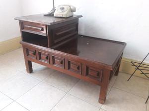 Mesa d madera telefonera antigua vintage retro