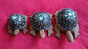Tortugas Artesanales de Madera Decoradas Antiguas