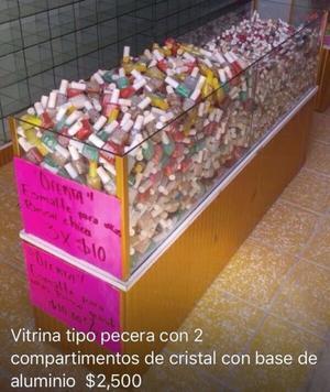 VITRINA Y PECERAS DE CRISTAL BASE DE ALUMINIO