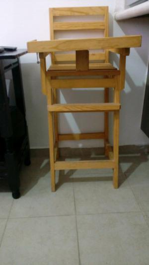 silla de madera para bebé