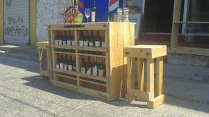 Barra tipo cantina rústica madera de pino recién hecha 2
