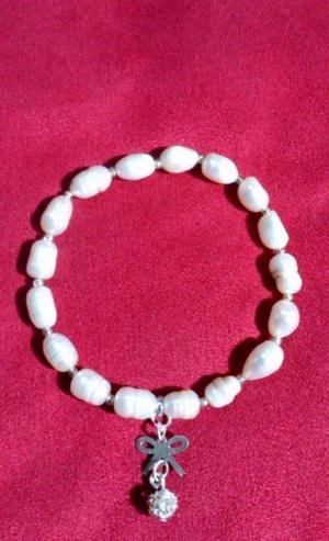 Pulsera de Perlas Japonesas y Zirconias 54 mm Elastica Nueva