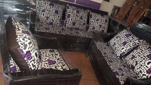 REMATE! Sala de 3 piezas de pino color chocolate con cojines