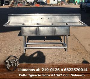 Mesa tipo Tarja triple de acero inoxidable para cocina en