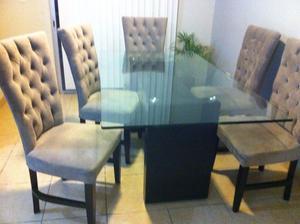 Comedor 6 sillas capitoneadas pedestal de ocume posot class for Sillas cristal