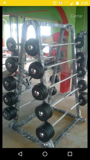 Paquete Peso, Mancuernas, Discos, Barras Cracken Gym
