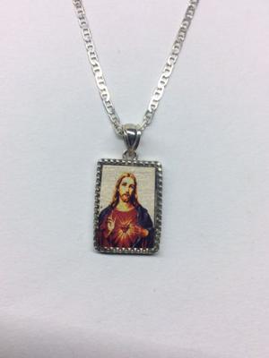 Cadena y dije en plata corazón de jesus