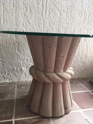 Mesitas circulares base CANTERA superficie Vidrio