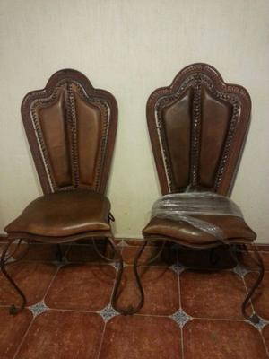 6 sillas de piel tipo campiranas