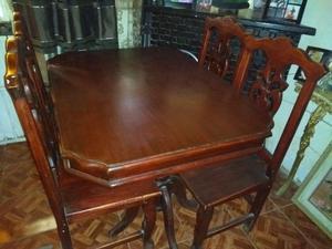 Comedor 4 sillas color caoba rojo