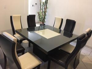 Comedor jaspe con mesa cuadrada para 8 personas posot class for Comedor 8 sillas
