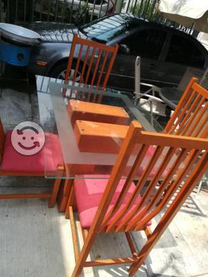 Comedor 4 sillas cristal
