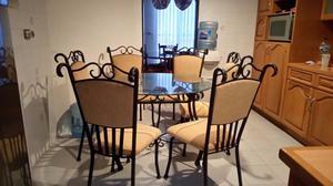 antecomedor de herreria con mesa de cristal 6 sillas