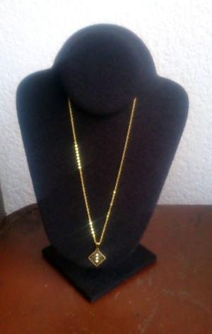 Cadena y Dije Rombo y Zirconias Chapa Oro 18 K Nvo