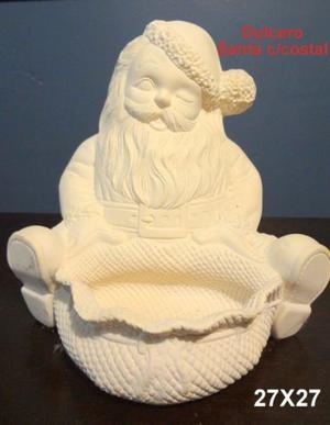 LOTE 3 Santa Claus de cerámica para decorar