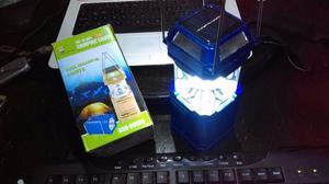 Linterna campamento power bank panel solar luz led