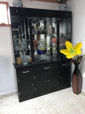 Mueble Vitrina de Madera, Con Espejo, Cajoneras, Color
