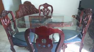 Comedor de caoba mesa circular de vidrio con 8 sillas