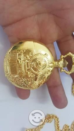 Reloj De Bolsillo Locomotora Dorado