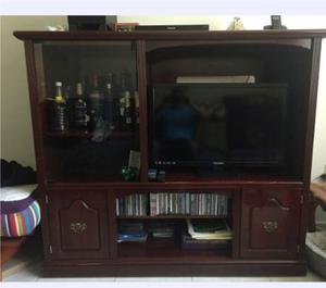 Mueble Para Tv, Discos Y Teatro En Casa En Color Vino