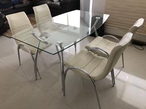 REMATO Comedor moderno de vidrio 4 sillas