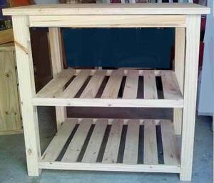 Mesa auxilir de cocina es de madera de pino, de 90 cm x 75 x