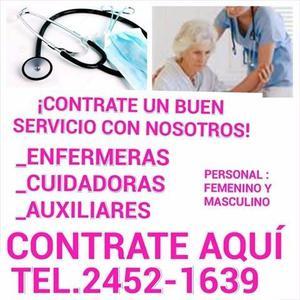 Servicios de enfermeras y cuidadores a domicilio y en