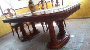 comedor madera fina tallado elegante