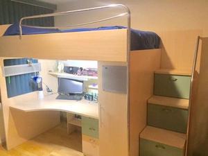 Litera triple de madera con escritorio y cajones posot class - Literas con escritorio debajo ...