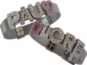 Pulsera de Acero con Letras y Dijes de Cristales Brazalete
