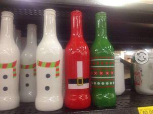 Botella de vidrio para decorar navideñas
